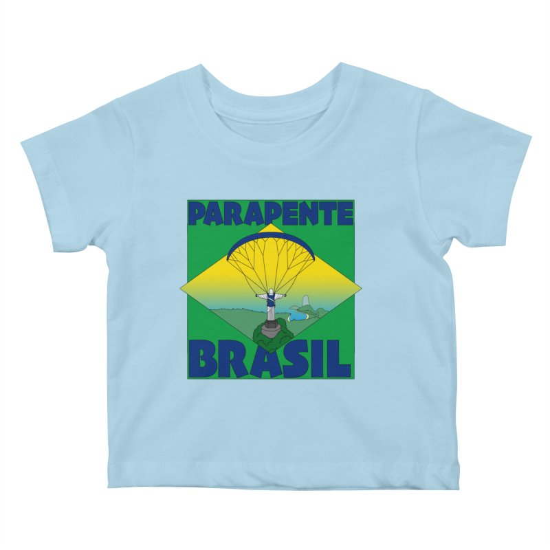 Parapente Brasil - Paraglide Brazil Kids Baby T-Shirt by The Wandering Fools