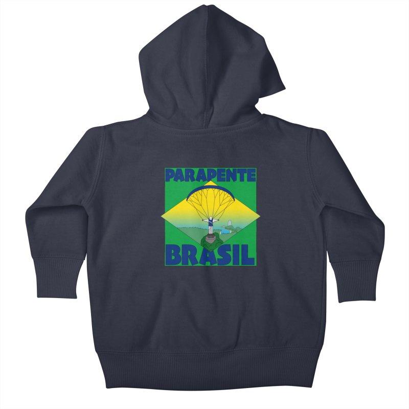 Parapente Brasil - Paraglide Brazil Kids Baby Zip-Up Hoody by The Wandering Fools