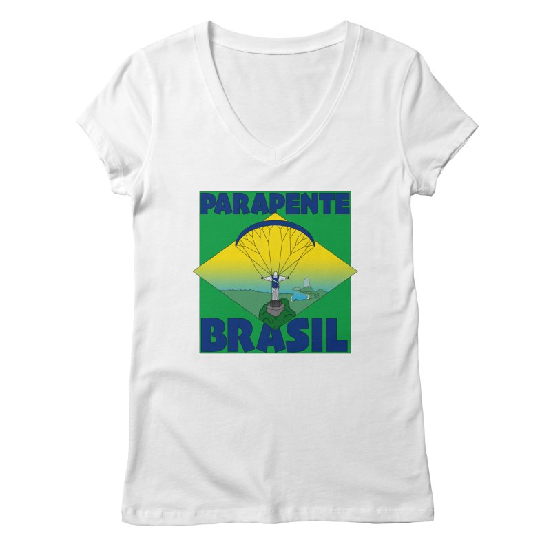 Parapente Brasil - Paraglide Brazil Women's Regular V-Neck by The Wandering Fools
