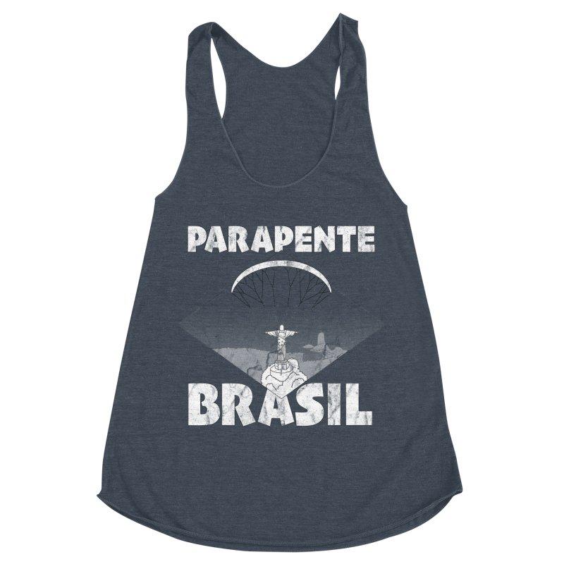 Parapente Brasil - Paraglide Brazil - Grunge Women's Racerback Triblend Tank by The Wandering Fools