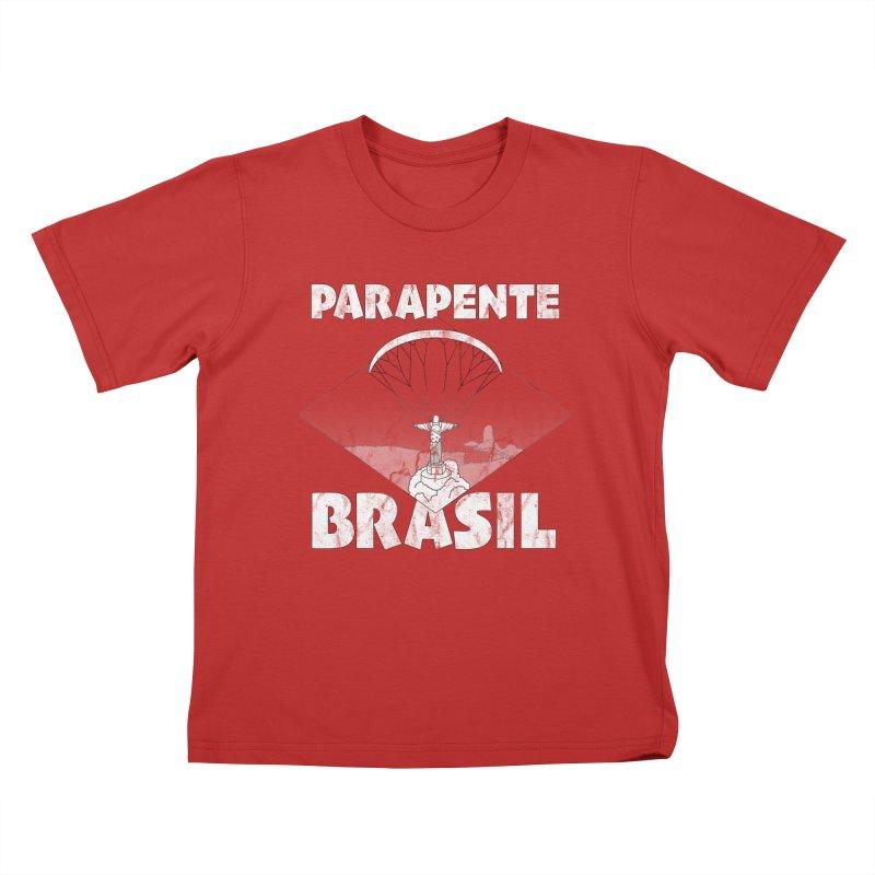 Parapente Brasil - Paraglide Brazil - Grunge Kids T-Shirt by The Wandering Fools