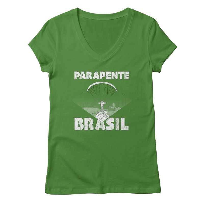 Parapente Brasil - Paraglide Brazil - Grunge Women's Regular V-Neck by The Wandering Fools