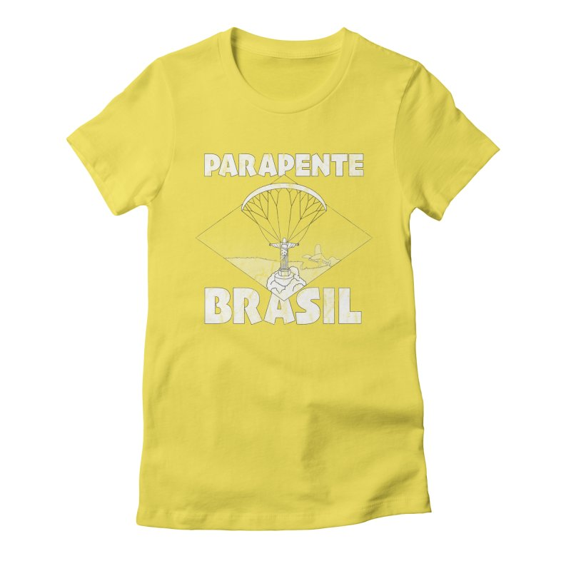 Parapente Brasil - Paraglide Brazil - Grunge in Women's Fitted T-Shirt Vibrant Yellow by The Wandering Fools