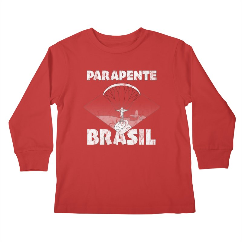 Parapente Brasil - Paraglide Brazil - Grunge Kids Longsleeve T-Shirt by The Wandering Fools