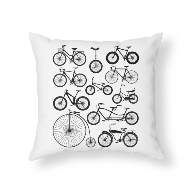 Bicycles Galore Home Throw Pillow by The Wandering Fools Artist Shop