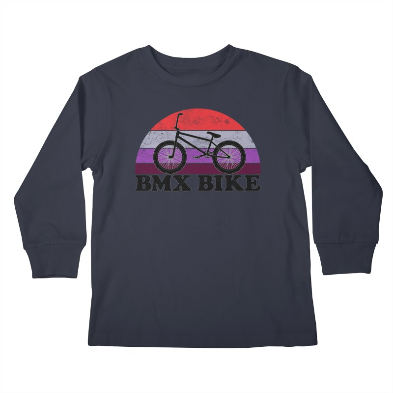 BMX Bike Vintage Colors Kids Longsleeve T-Shirt by The Wandering Fools Artist Shop