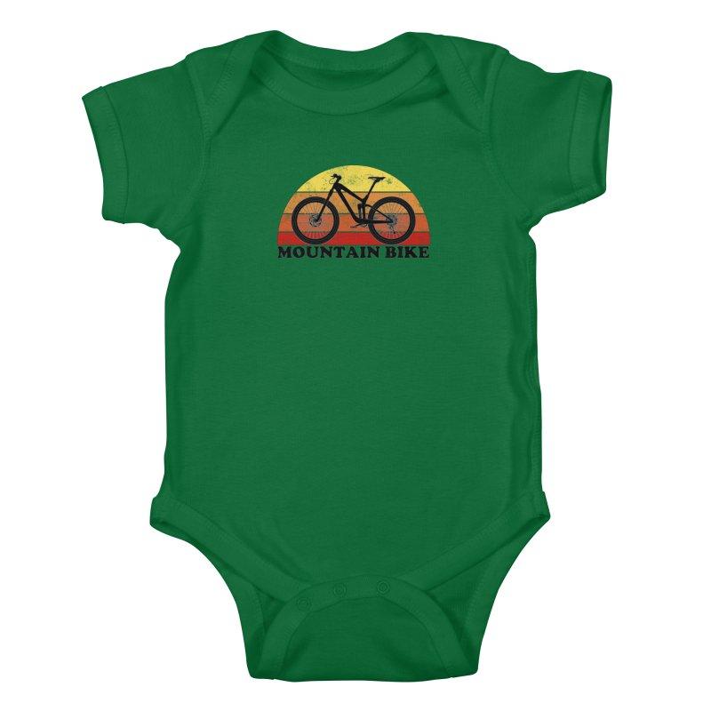 Mountain Bike Vintage Colors Kids Baby Bodysuit by The Wandering Fools Artist Shop