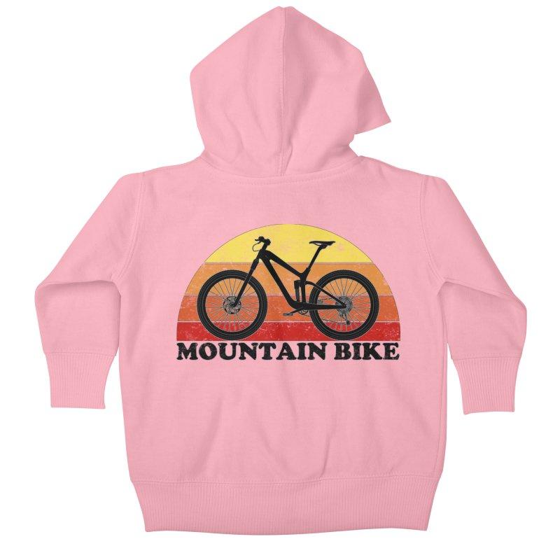 Mountain Bike Vintage Colors Kids Baby Zip-Up Hoody by The Wandering Fools Artist Shop