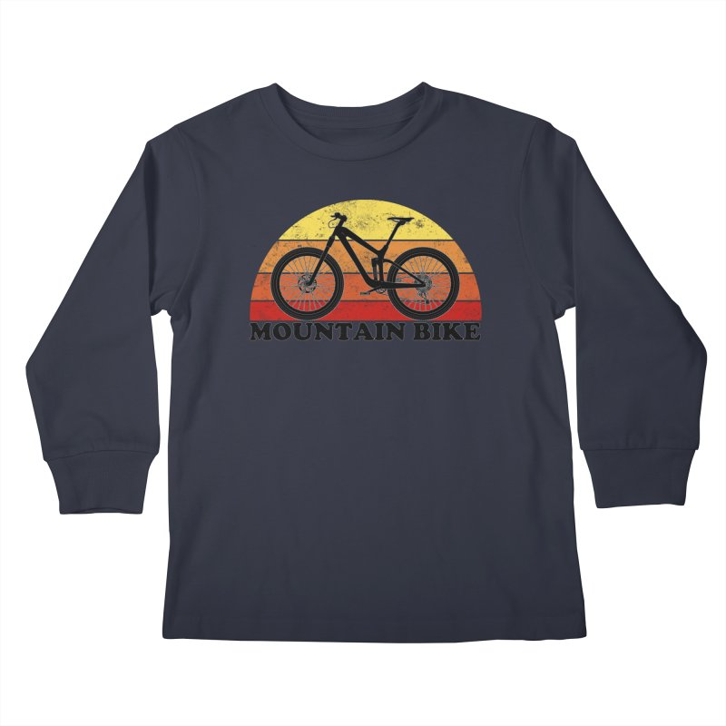 Mountain Bike Vintage Colors Kids Longsleeve T-Shirt by The Wandering Fools Artist Shop