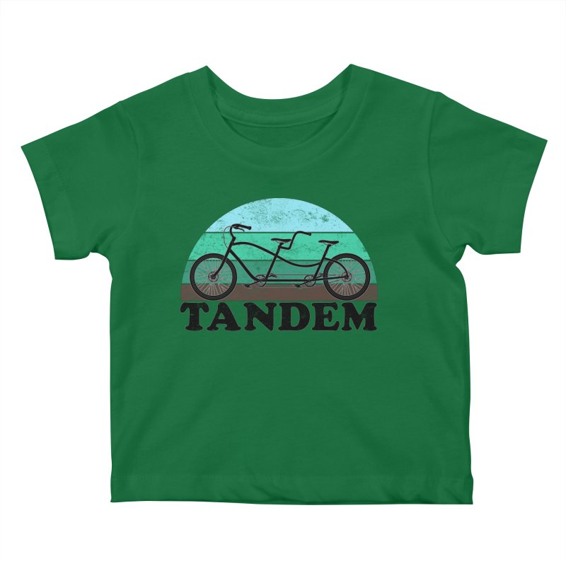 Tandem Bicycle Vintage Colors Kids Baby T-Shirt by The Wandering Fools Artist Shop