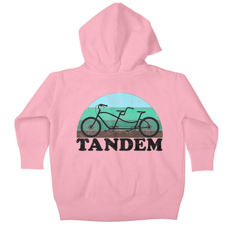 Tandem Bicycle Vintage Colors Kids Baby Zip-Up Hoody by The Wandering Fools Artist Shop