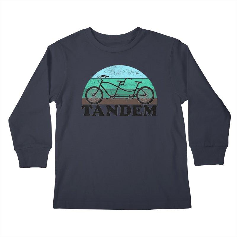 Tandem Bicycle Vintage Colors Kids Longsleeve T-Shirt by The Wandering Fools Artist Shop
