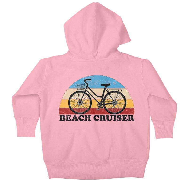 Beach Cruiser Bike Vintage Colors Kids Baby Zip-Up Hoody by The Wandering Fools Artist Shop