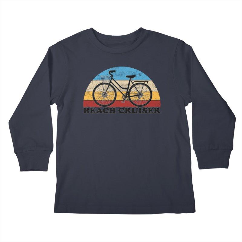 Beach Cruiser Bike Vintage Colors Kids Longsleeve T-Shirt by The Wandering Fools Artist Shop