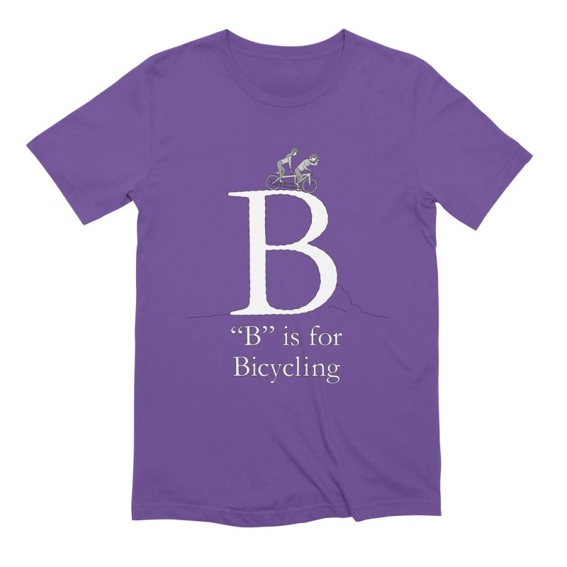 B is for Bicycling in Men's Extra Soft T-Shirt Purple by The Wandering Fools