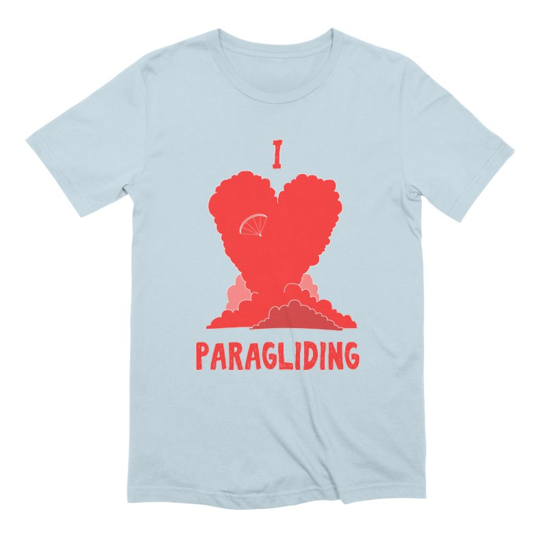 The Wandering Fools - I Love Paragliding in Men's Extra Soft T-Shirt Baby Blue by The Wandering Fools