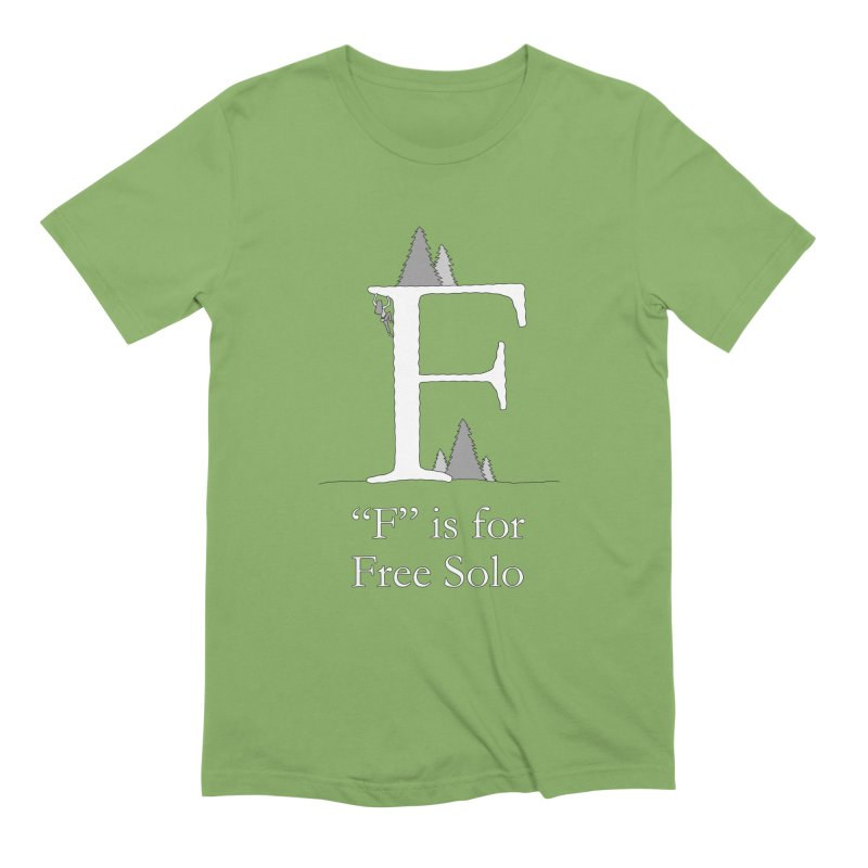 F is for Free Solo in Men's Extra Soft T-Shirt Avocado by The Wandering Fools