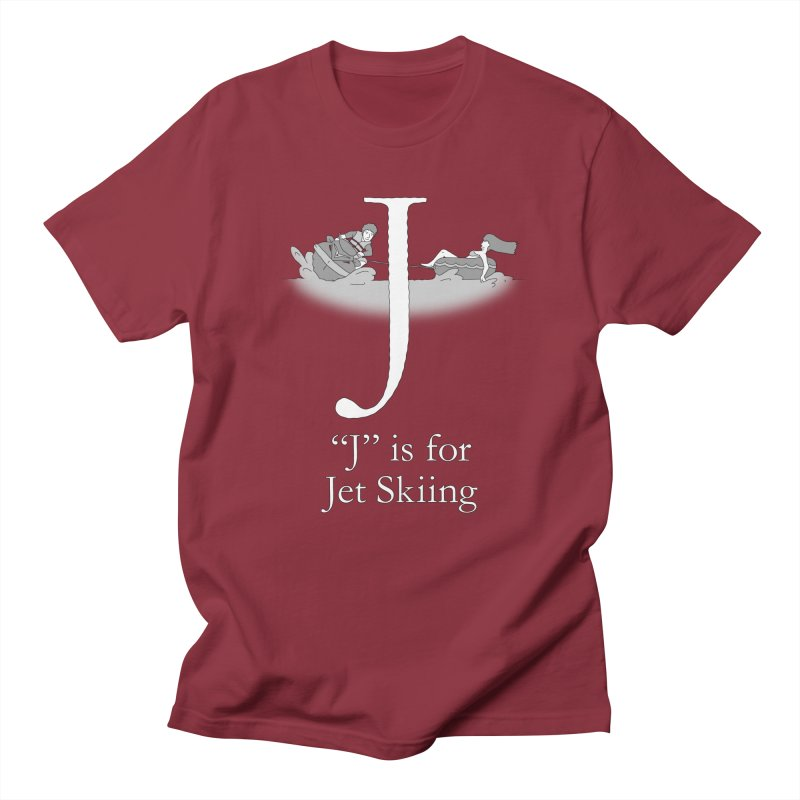 J is for Jet Skiing in Men's Regular T-Shirt Scarlet Red by The Wandering Fools