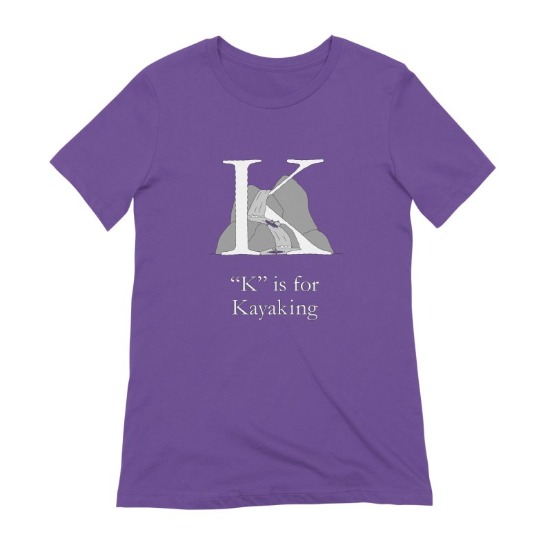 K is for Kayaking in Women's Extra Soft T-Shirt Purple by The Wandering Fools