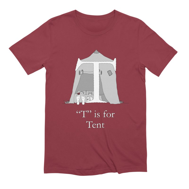 T is for Tent in Men's Extra Soft T-Shirt Scarlet Red by The Wandering Fools