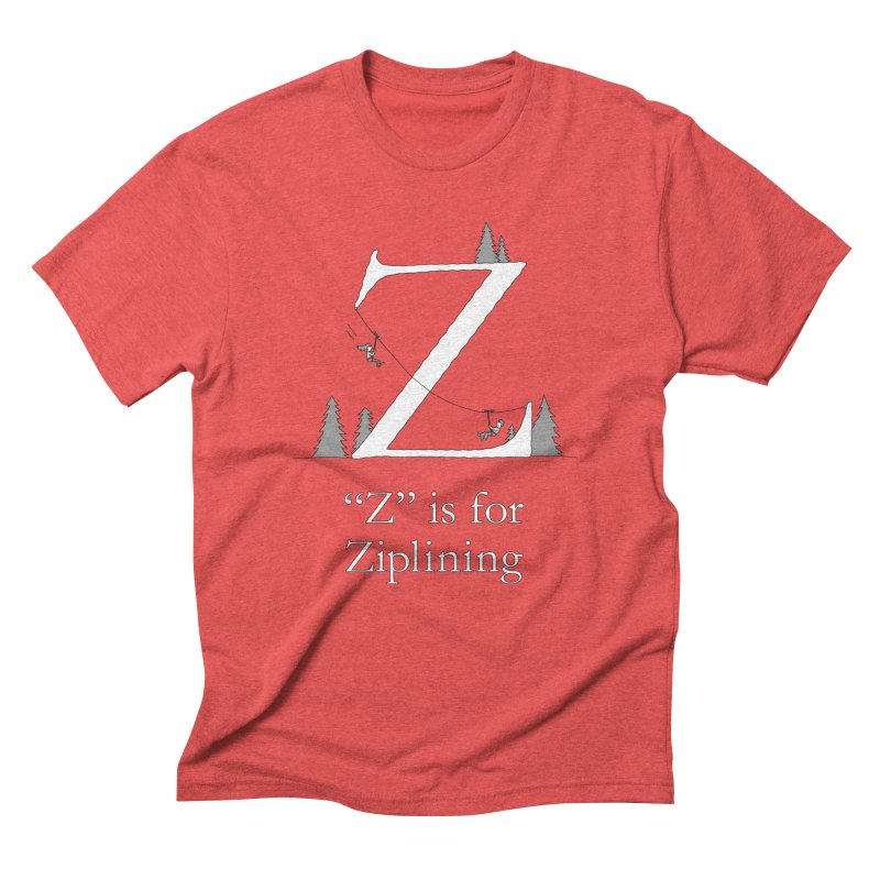 Z is for Ziplining in Men's Triblend T-Shirt Chili Red by The Wandering Fools