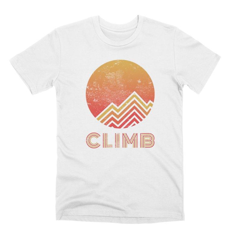 Retro Climb - Rock Climbing Men's Premium T-Shirt by The Wandering Fools