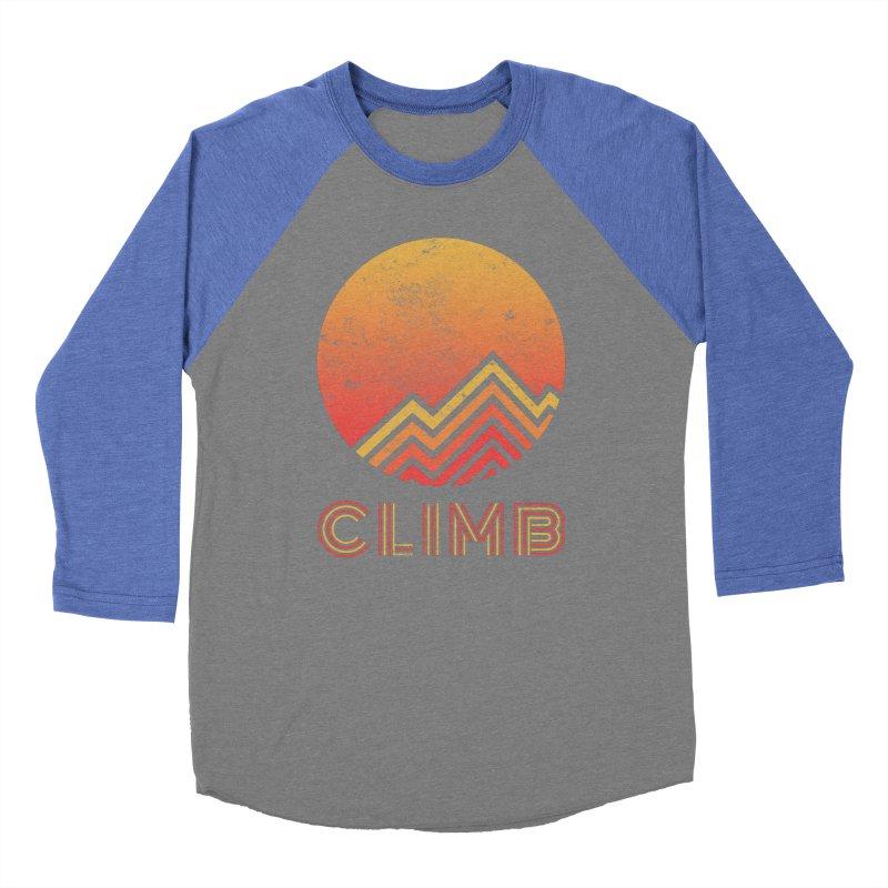 Retro Climb - Rock Climbing Men's Baseball Triblend Longsleeve T-Shirt by The Wandering Fools