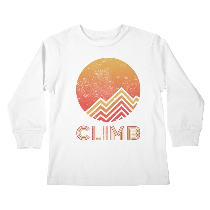 Retro Climb - Rock Climbing Kids Longsleeve T-Shirt by The Wandering Fools