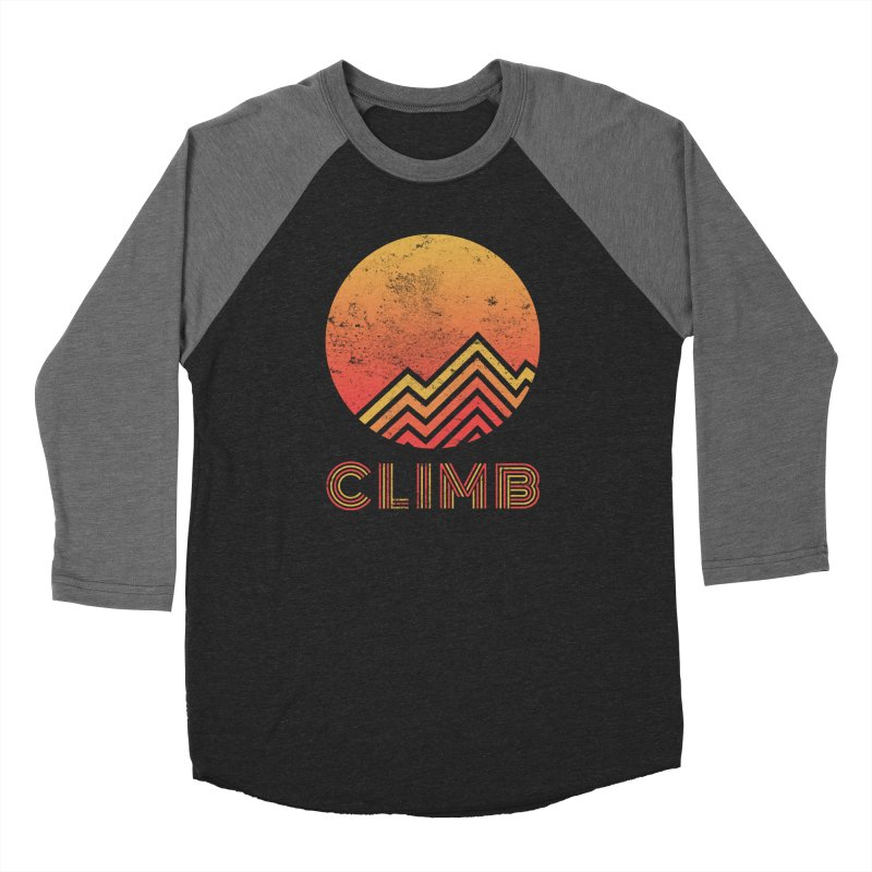 Retro Climb - Rock Climbing in Men's Baseball Triblend Longsleeve T-Shirt Grey Triblend Sleeves by The Wandering Fools