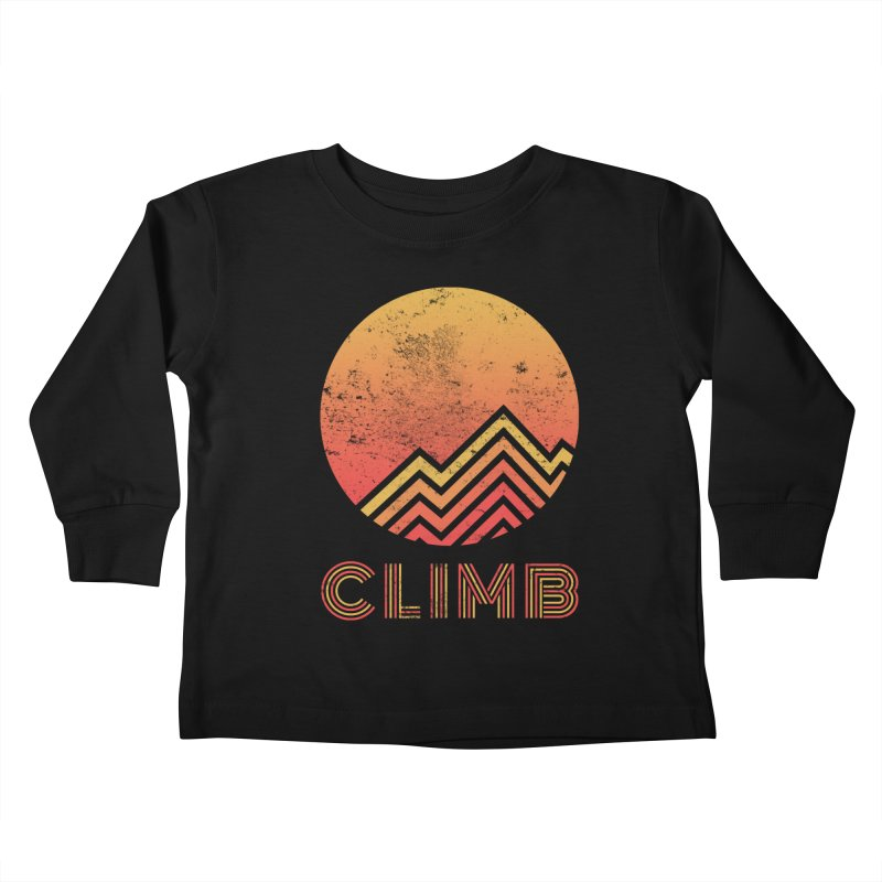 Retro Climb - Rock Climbing Kids Toddler Longsleeve T-Shirt by The Wandering Fools
