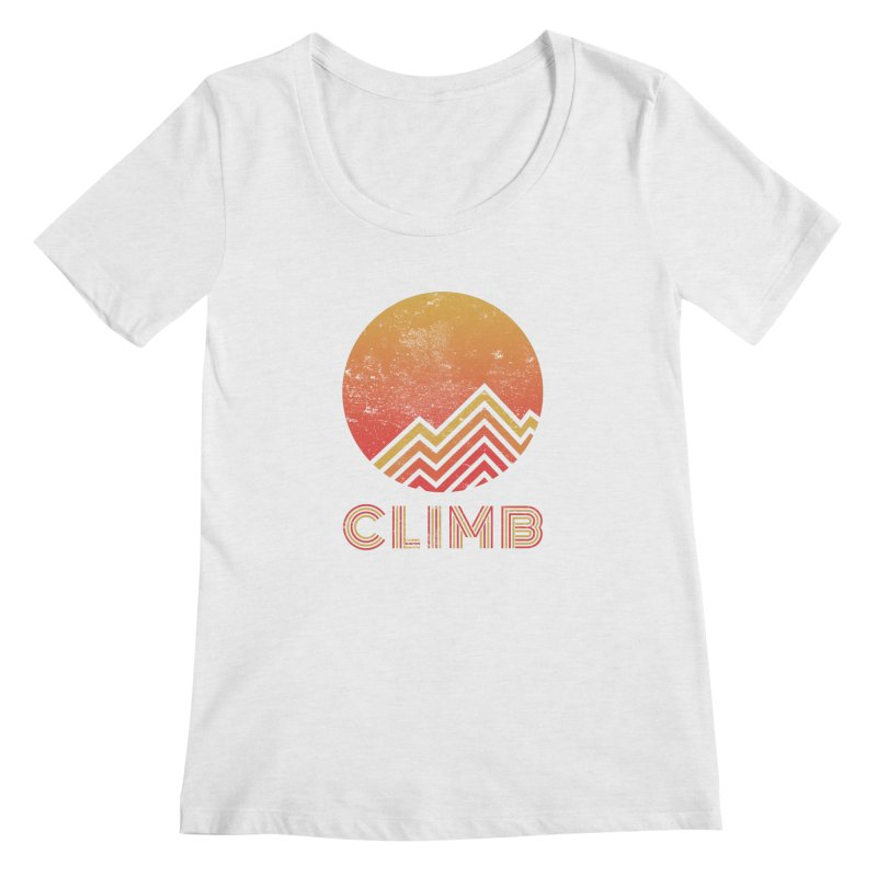 Retro Climb - Rock Climbing Women's Scoop Neck by The Wandering Fools