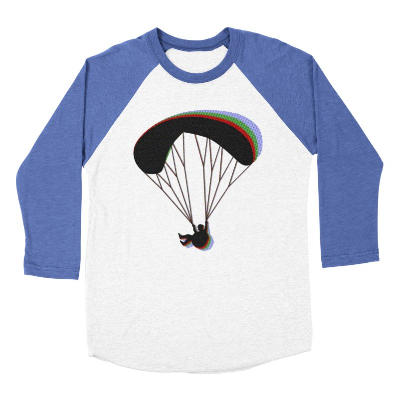 Paragliding RGB in Men's Baseball Triblend Longsleeve T-Shirt Tri-Blue Sleeves by The Wandering Fools