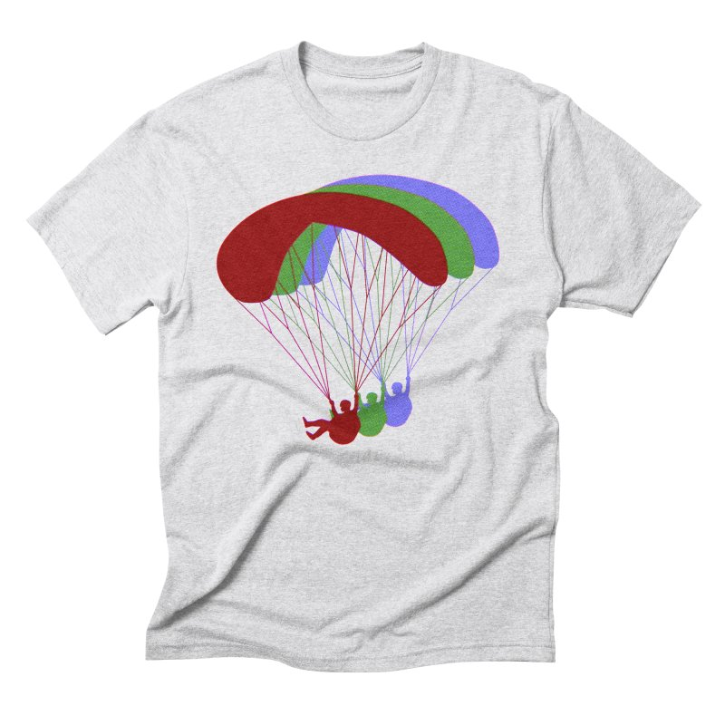 Paragliding RGB Offset in Men's Triblend T-Shirt Heather White by The Wandering Fools