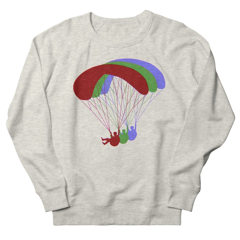 Paragliding RGB Offset in Men's French Terry Sweatshirt Heather Oatmeal by The Wandering Fools