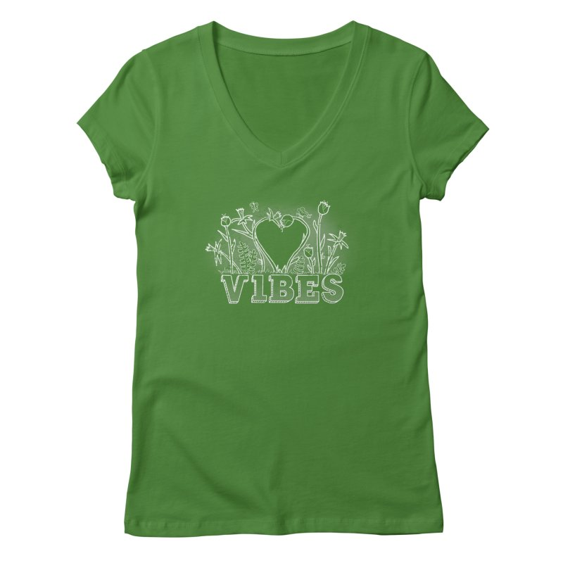 Vibes in Women's Regular V-Neck Leaf by The Wandering Fools