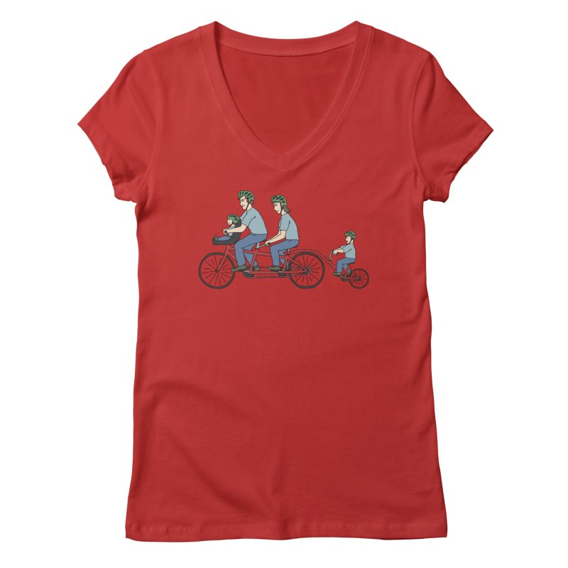 Quad Bicycle Women's Regular V-Neck by The Wandering Fools