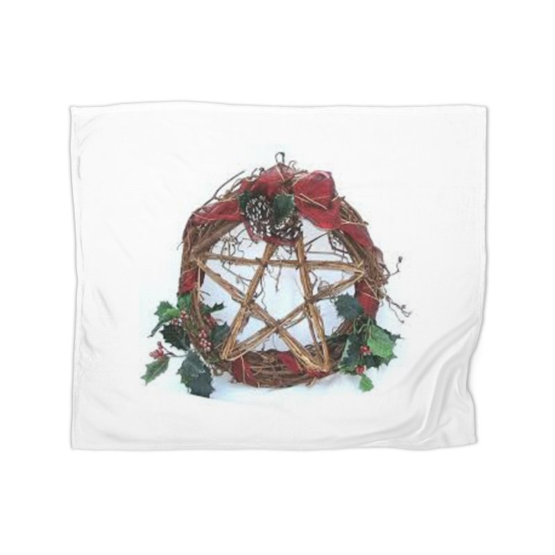 YuleWreath Home Fleece Blanket Blanket by The Ways of The Old's Artist Shop