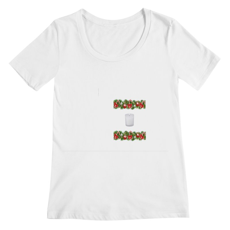 whitecandlegarland Women's Regular Scoop Neck by The Ways of The Old's Artist Shop