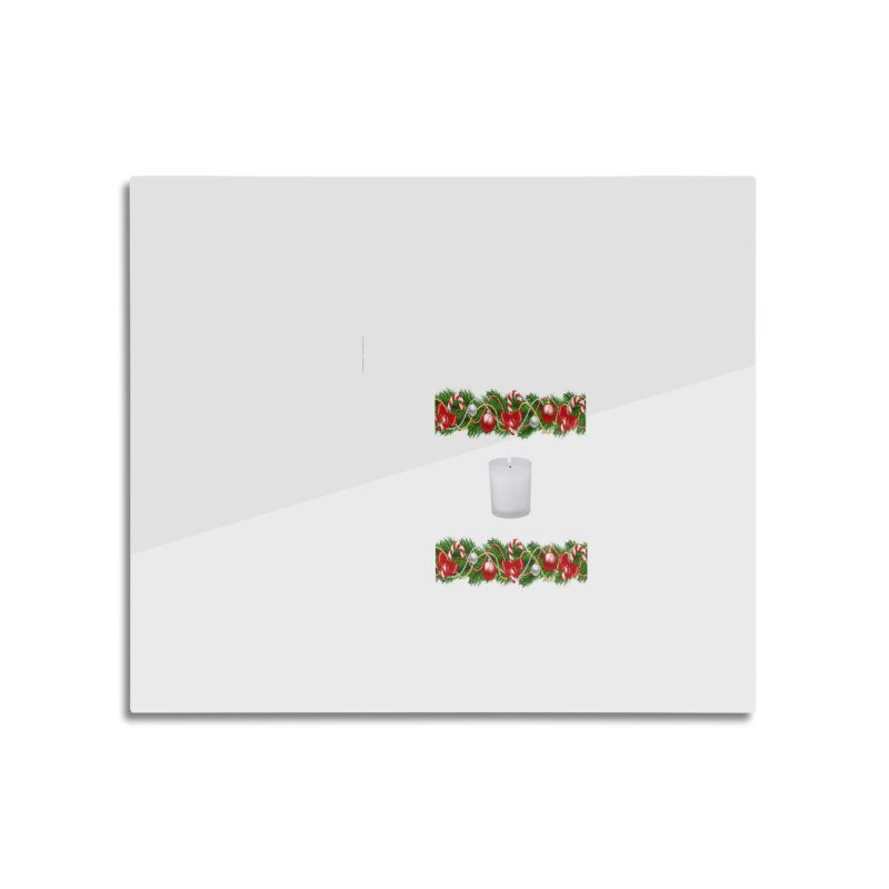 whitecandlegarland Home Mounted Aluminum Print by The Ways of The Old's Artist Shop