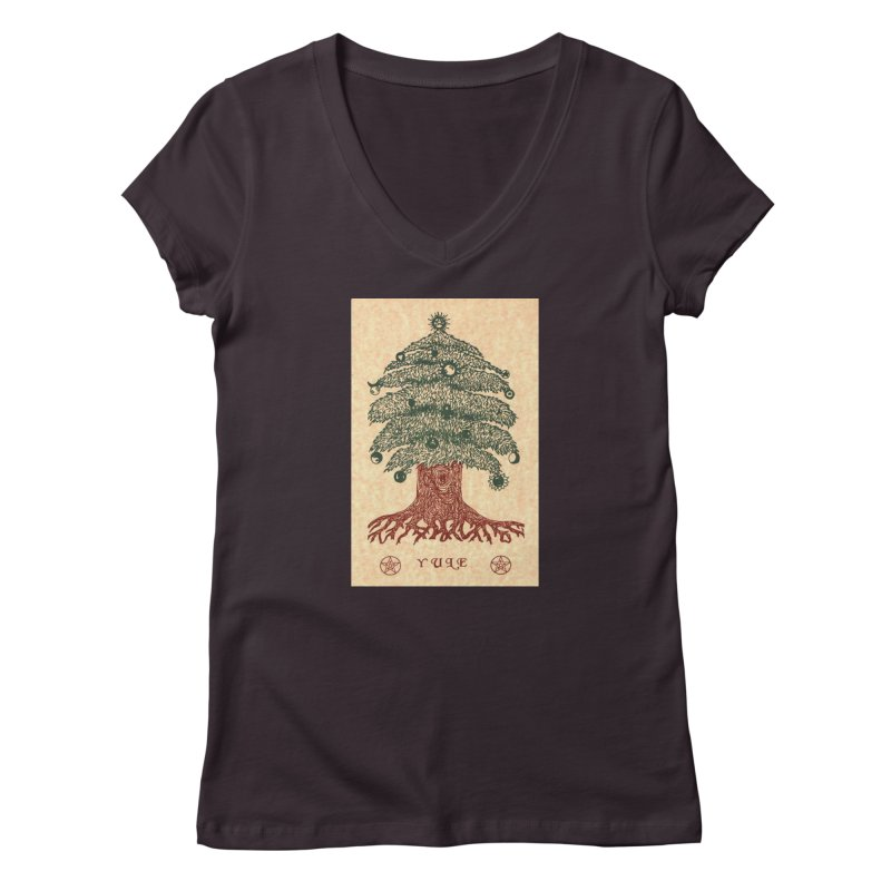 Yule Tree Women's Regular V-Neck by The Ways of The Old's Artist Shop