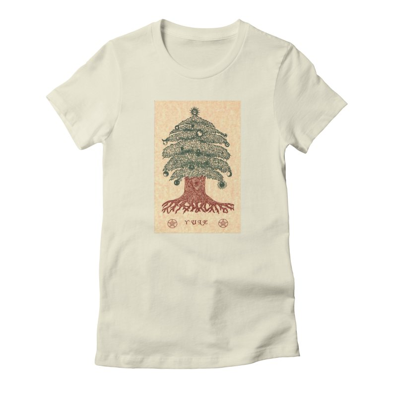 Yule Tree Women's Fitted T-Shirt by The Ways of The Old's Artist Shop