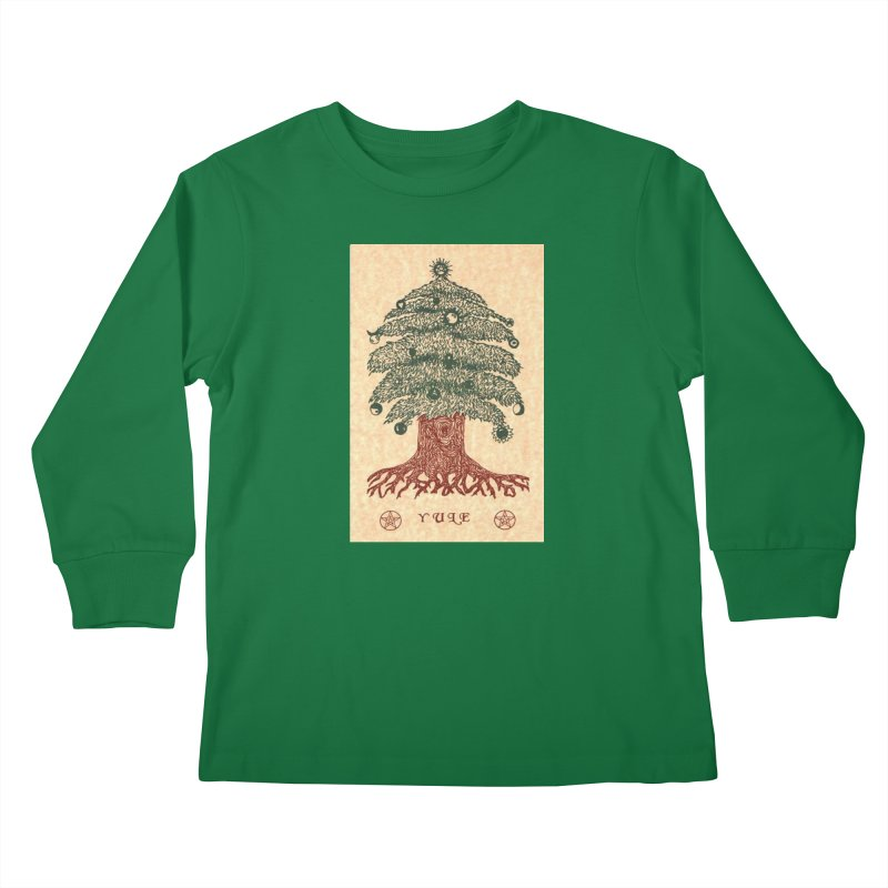 Yule Tree Kids Longsleeve T-Shirt by The Ways of The Old's Artist Shop