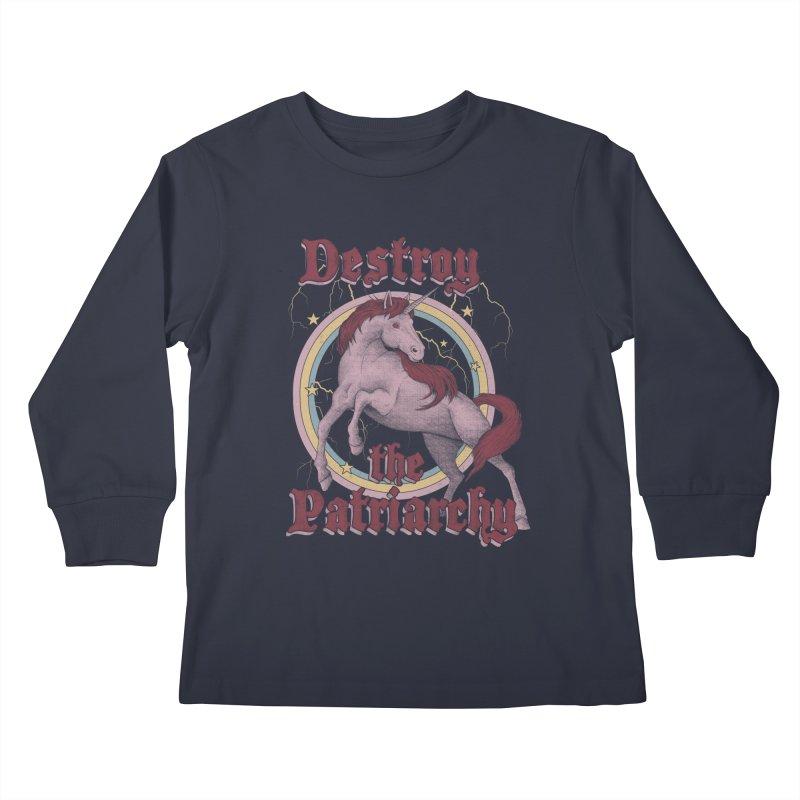 Destroy the Patriarchy Kids Longsleeve T-Shirt by Thiago Corrêa