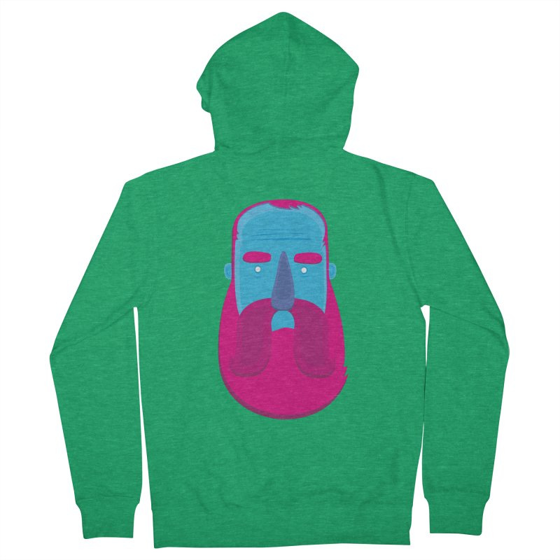 Beard Men's French Terry Zip-Up Hoody by thiagoegg's Artist Shop