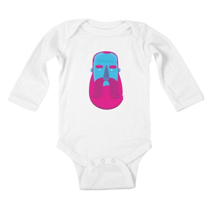 Beard Kids Baby Longsleeve Bodysuit by thiagoegg's Artist Shop