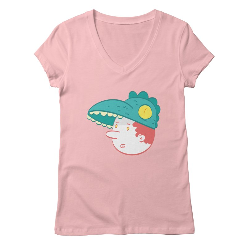 Dino Boy Women's Regular V-Neck by thiagoegg's Artist Shop