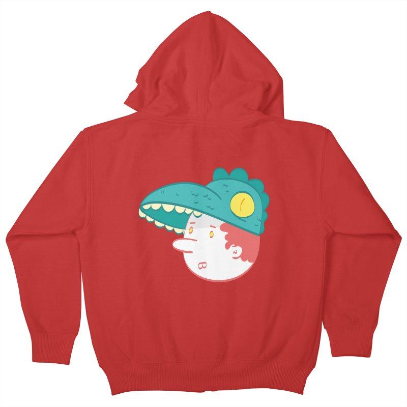 Dino Boy Kids Zip-Up Hoody by thiagoegg's Artist Shop
