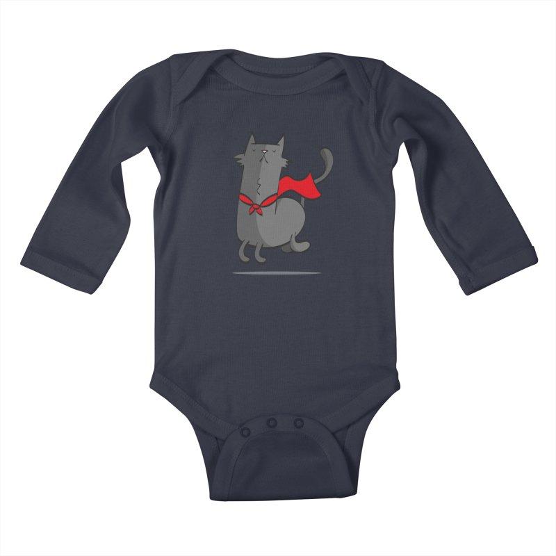 Super Cat Kids Baby Longsleeve Bodysuit by thiagoegg's Artist Shop