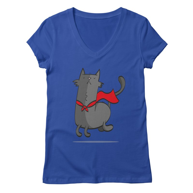 Super Cat Women's Regular V-Neck by thiagoegg's Artist Shop
