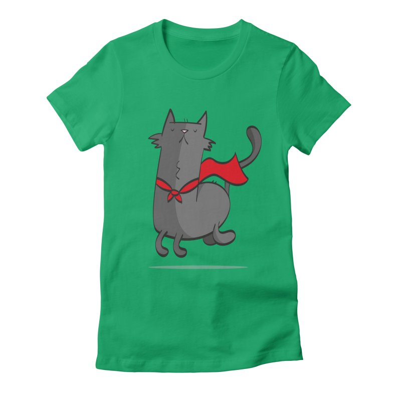 Super Cat Women's Fitted T-Shirt by thiagoegg's Artist Shop